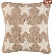 "Khaki Firestars 18"" Hooked Wool Pillow"