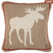 "Khaki Moose 18"" Hooked Wool Pillow"