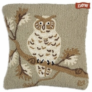 "Khaki Owl 18"" Hooked Wool Pillow"