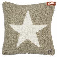 "Khaki Star 18"" Hooked Wool Pillow"