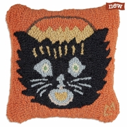 "Kitty Candy Carrier 14"" Hooked Wool Pillow"