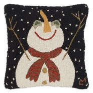 "Let It Snow 18"" Hooked Wool Pillow"