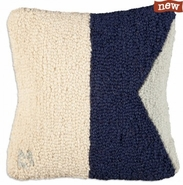 "Letter ""A"" Nautical Flag 14"" Hooked Wool Pillow"