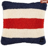 "Letter ""C"" Nautical Flag 14"" Hooked Wool Pillow"
