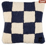 "Letter ""N"" Nautical Flag 14"" Hooked Wool Pillow"