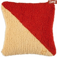 "Letter ""O"" Nautical Flag 14"" Hooked Wool Pillow"