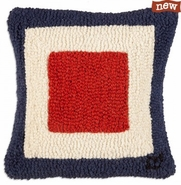 "Letter ""W"" Nautical Flag 14"" Hooked Wool Pillow"