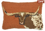 "Longhorn Steer 14"" X 20"" Hooked Wool Pillow"