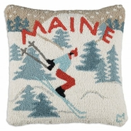 "Maine Skier 18"" Hooked Wool Pillow"