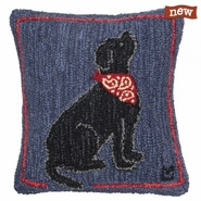 "Max Bandana Black Lab 18"" Hooked Wool Pillow"