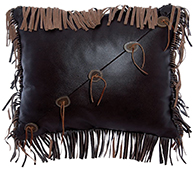 Mesa Espresso Leather Pillow with Fringe and sliced Antler Buttons