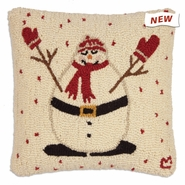 "Mitten Man 18"" Hooked Wool Pillow"