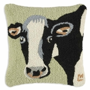 "Molly Cow Hooked Wool Pillow - 14"" X 14"""