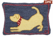 "Molly Yellow Lab 14"" X 20"" Hooked Wool Pillow"