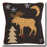 Night Moose Hooked Wool Pillow - 18""
