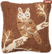 "Night Owl on Brown 14"" Hooked Wool Pillow"
