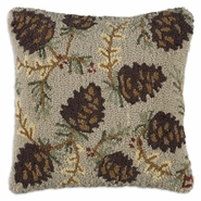 "Northwoods Cones 18"" Hooked Wool Pillow"