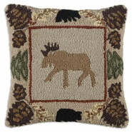 "Northwoods Moose 18"" Hooked Wool Pillow"