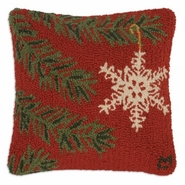 "Ornament Flake 18"" Hooked Wool Pillow"