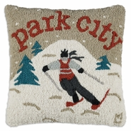 "Park City Skier 18"" Hooked Wool Pillow"