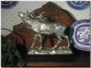 Pewter Stag Sculpture  with Marble Base- Free Shipping