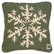 "Pine Flake 14"" Hooked Wool Pillow"