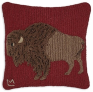 Plush Buffalo Hooked Wool Pillow - 18""