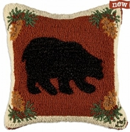 "Plush Wilderness Bear 18"" Hooked Wool Pillow"