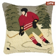 "Pond Hockey 18"" Hooked Wool Pillow"