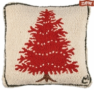 "Popcorn Tree 18"" Hooked Wool Pillow"