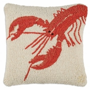 "Red Lobster 18"" Hooked Wool Pillow"