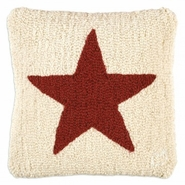 "Red Star on White 14"" Hooked Wool Pillow"