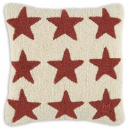 Red Stars on White Hooked Wool Pillow - 18""