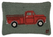 "Red Truck 14""  X 20"" Hooked Wool Pillow"