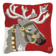 "Reindeer Halter Green 18"" Hooked Wool Pillow"