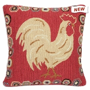 "Rooster 26"" Hooked Wool Pillow"