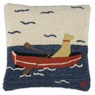 "Row Your Boat 18"" Hooked Wool Pillow"