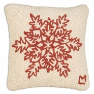 "Ruby Snowflake Hooked Wool Pillow 14"" X 14"""