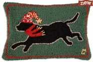 "Running Black Lab 14"" X 20"" Hooked Wool Pillow"