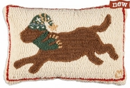 "Running Chocolate Lab 14"" X 20"" Hooked Wool Pillow"