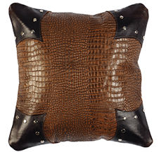 Rustic Gator with Stallion Leather Pillow