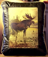 Rustic  Moose Leather Pillow