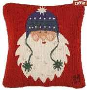 "Santa's Pom Pom Hat 18"" Hooked Wool Pillow"