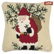 "Santa's Shrub 18"" Hooked Wool Pillow"