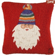 "Santa's Striped Hat 18"" Hooked Wool Pillow"
