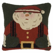"Santa Suspenders 18"" Hooked Wool Pillow"