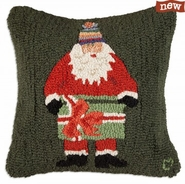"Santa with Gift 18"" Hooked Wool Pillow"