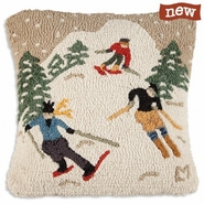 "Schuss Downhill 18"" Hooked Wool Pillow"