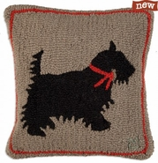 "Scotty Dog 18"" Hooked Wool Pillow"