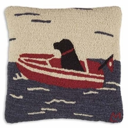 "Sea Dog Hooked Wool Pillow - 18"" -"